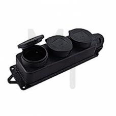 Розетка трехместная с защит. крышками каучуковая 230В 2P+PE 16A IP44 EKF PROxima RPS-015-16-230-44
