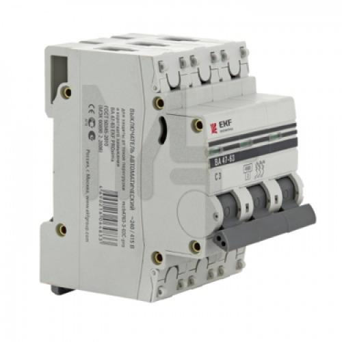Автоматический выключатель 3P 63А (C) 10kA ВА 47-100 EKF PROxima mcb47100-3-63C-pro
