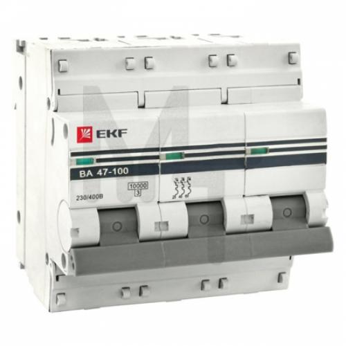 Автоматический выключатель 3P 125А (D) 10kA ВА 47-100 EKF PROxima mcb47100-3-125D-pro