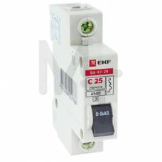 Автоматический выключатель 1P 25А (C) 4,5кА ВА 47-29 EKF Basic mcb4729-1-25C