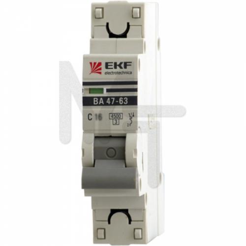 Автоматический выключатель 1P 3А (C) 4,5kA ВА 47-63 EKF PROxima mcb4763-1-03C-pro
