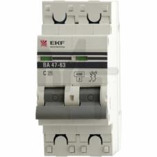 Автоматический выключатель 2P 10А (C) 4,5kA ВА 47-63 EKF PROxima mcb4763-2-10C-pro