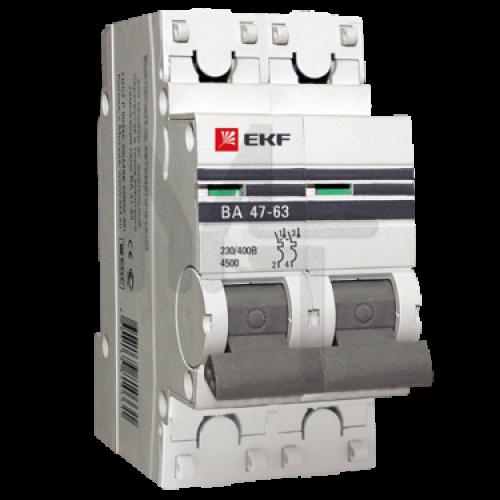 Автоматический выключатель 2P 40А (C) 4,5kA ВА 47-63 EKF PROxima mcb4763-2-40C-pro