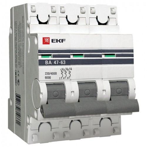Автоматический выключатель 3P 16А (C) 6кА ВА 47-63 EKF PROxima mcb4763-6-3-16C-pro
