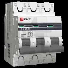 Автоматический выключатель 3P 20А (C) 4,5kA ВА 47-63 EKF PROxima mcb4763-3-20C-pro