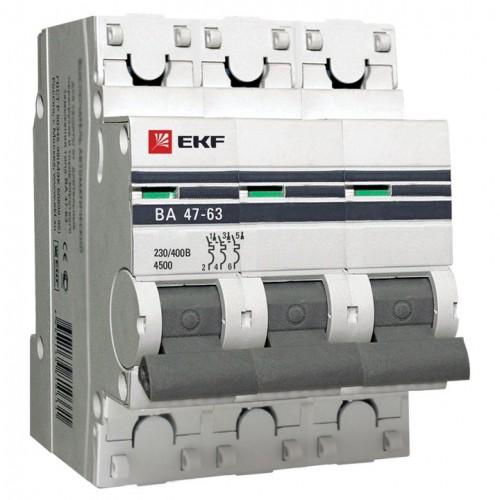 Автоматический выключатель 3P 20А (D) 4,5kA ВА 47-63 EKF PROxima mcb4763-3-20D-pro