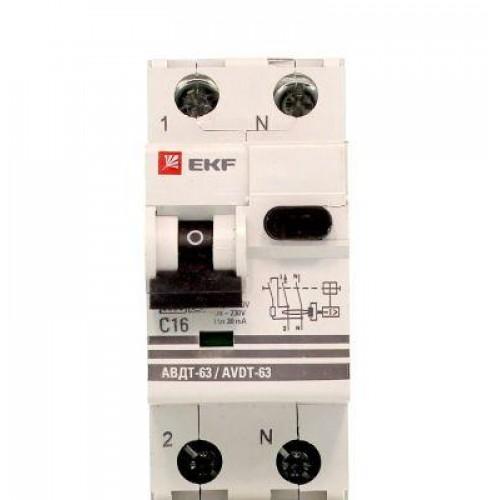 Дифференциальный автомат АВДТ-63 16А/30мА (характеристика C, эл-мех тип A) 6кА EKF PROxima DA63-16-30