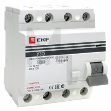Устройство защитного отключения УЗО ВД-100 4P 40А/30мА (электромеханическое) EKF PROxima elcb-4-40-30-em-pro