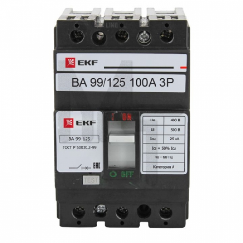 Выключатель автоматический ВА-99 125/100А 3P 25кА EKF PROxima mccb99-125-100