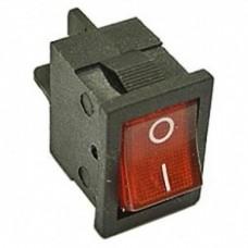 Клавишный переключатель YL211-02 2 положения черный/красная с подсв. 230В 1НО (100шт/упак) ЭНЕРГИЯ Е0901-0069
