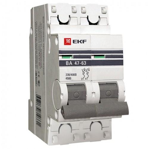 Автоматический выключатель 2P 50А (В) 4,5kA ВА 47-63 EKF PROxima mcb4763-2-50B-pro