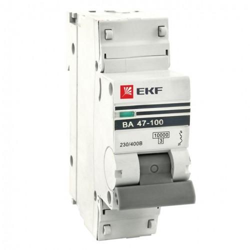 Автоматический выключатель 1P 100А (C) 10kA ВА 47-100 EKF PROxima mcb47100-1-100C-pro