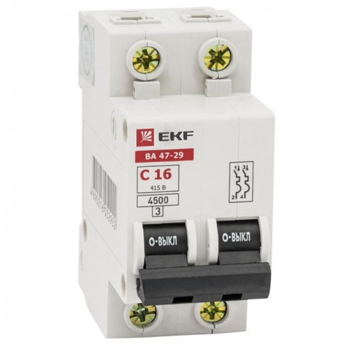 Автоматический выключатель 2P 20А (C) 4,5кА ВА 47-29 EKF Basic mcb4729-2-20C