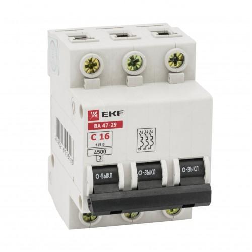 Автоматический выключатель 3P 10А (C) 4,5кА ВА 47-29 EKF Basic mcb4729-3-10C