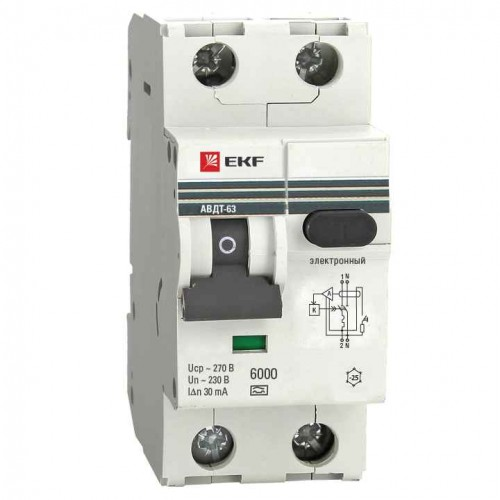 Дифференциальный автомат АВДТ-63 40А/30мА (хар-ка C, электронный тип A) 6кА EKF PROxima DA63-40-30e