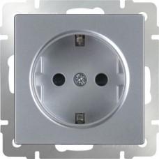 Розетка с заземлением /WL06-SKG-01-IP20 (серебряный) a029828