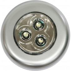 FN1203 Светильник-ночник 3LED 0.18W (3*AAA в комплект не входят), IP40, 70?70?25mm, серебряный 23294