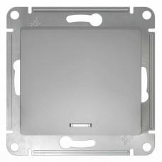 Glossa Алюминий Выключатель 1-клавишный с подсветкой, сх.1а  Schnaider GSL000313