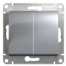 Glossa Алюминий Выключатель 2-клавишный с подсветкой, сх.5а  Schnaider GSL000353