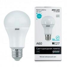 Лампа Gauss LED Elementary A60 20W E27 1600lm 4100K 1/10/50 23229