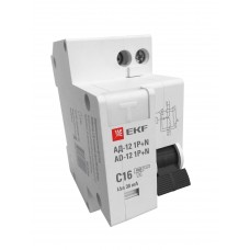 Дифференциальный автомат 1P+N 25А 30мА тип АС х-ка C эл. 4,5кА АД-12 EKF Basic DA12-25-30-bas