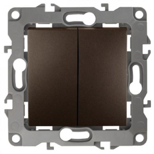 12-1104-13  ЭРА Выключатель двойной, 10АХ-250В, Эра12, бронза Б0019288