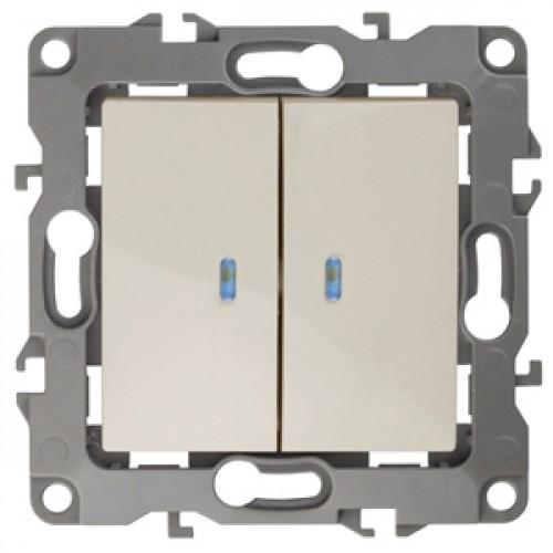 12-1105-02  ЭРА Выключатель двойной с подсветкой, 10АХ-250В, Эра12, слоновая кость Б0014658