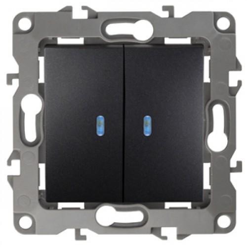 12-1105-05  ЭРА Выключатель двойной с подсветкой, 10АХ-250В, Эра12, антрацит Б0014661