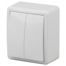 11-1204-01 Выключатель двойной, 10АХ-250В, ОУ, Эра Эксперт, белый  ЭРА Б0020663
