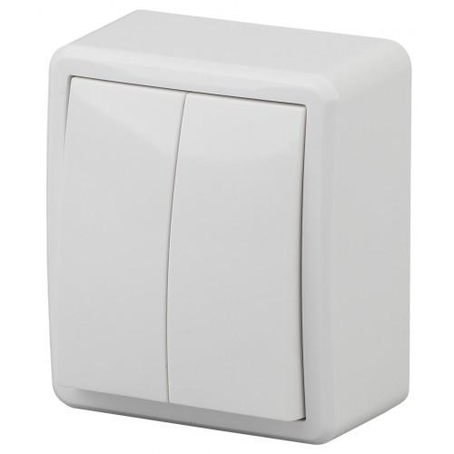11-1205-01 Выключатель двойной с подсветкой, 10АХ-250В, ОУ, Эра Эксперт, белый  ЭРА Б0020666