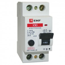 Устройство защитного отключения УЗО ВД-40 2P 25А/30мА (электронное) EKF Basic elcb-2-25-30e-sim