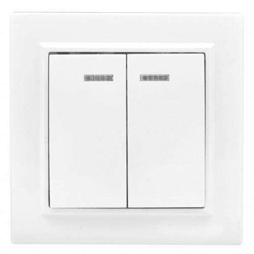Минск Выключатель 2-клавишный СП с индикатором,10А, белый EKF Basic ERV10-123-10