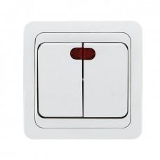Лондон Выключатель 2-клавишный с индикатором 10А белый EKF PROxima EEV10-123-10