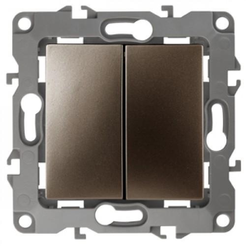 12-1106-13 ЭРА Переключатель двойной, 10АХ-250В, Эра12, бронза (10/100/2500) Б0019296