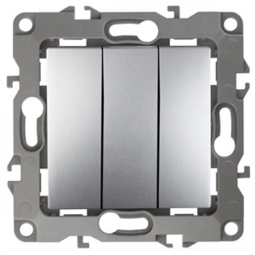 12-1107-03 ЭРА Выключатель тройной, 10АХ-250В, Эра12, алюминий (10/100/2500) Б0014671