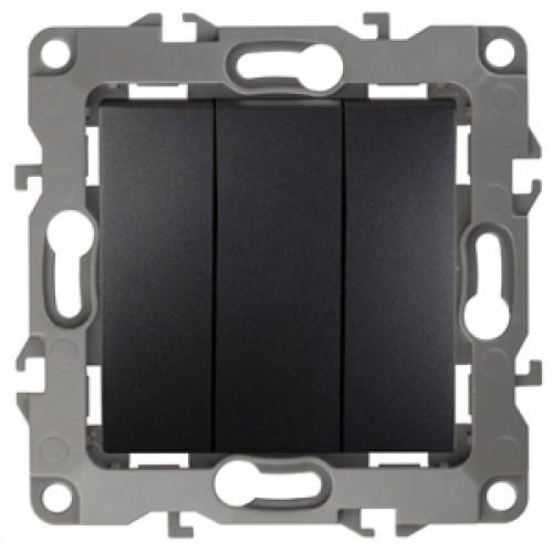 12-1107-05 ЭРА Выключатель тройной, 10АХ-250В, Эра12, антрацит (10/100/2500) Б0014673