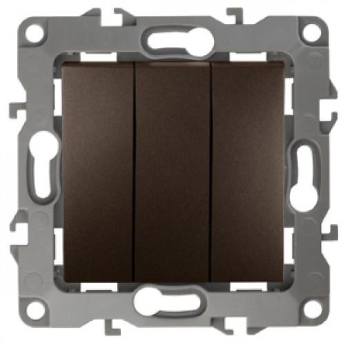 12-1107-13 ЭРА Выключатель тройной, 10АХ-250В, Эра12, бронза (10/100/2500) Б0019300