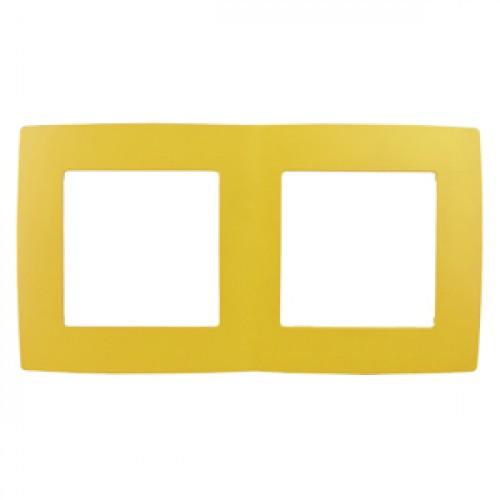12-5002-21 ЭРА Рамка на 2 поста, Эра12, жёлтый (10/100/3000) Б0019395