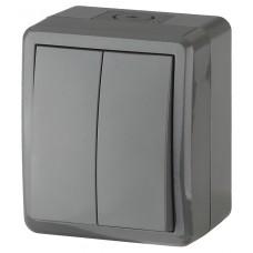 11-1404-03 ЭРА Выключатель двойной IP54, 10АХ-250В, ОУ, Эра Эксперт, серый (16/160/2560) Б0020676