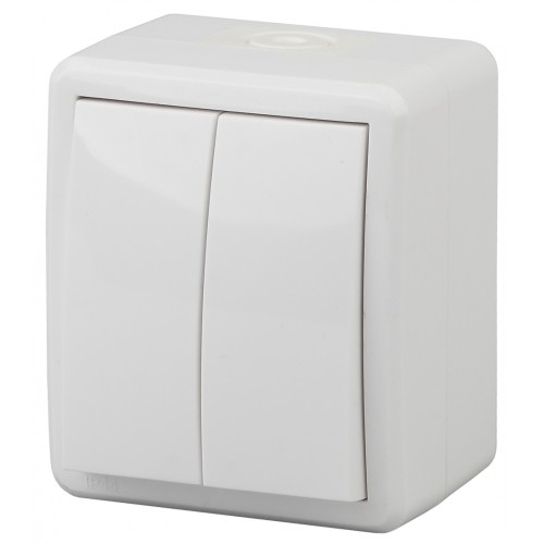 11-1405-01 ЭРА Выключатель двойной с подсветкой IP54, 10АХ-250В, ОУ, Эра Эксперт, белый (16/160/2560 Б0020677