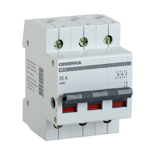 Выключатель нагрузки (мини-рубильник) ВН-32 3Р 100А GENERICA MNV15-3-100