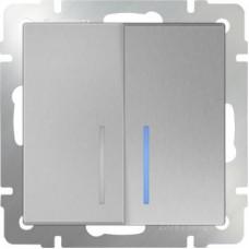 Выключатель двухклавишный проходной с подсветкой / WL06-SW-2G-2W-LED (серебряный) a029827