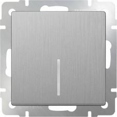 Выключатель одноклавишный проходной с подсветкой / WL09-SW-1G-2W-LED (cеребряный рифленый) a035653