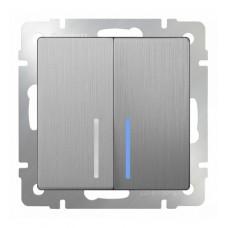 Выключатель двухклавишный проходной с подсветкой / WL09-SW-2G-2W-LED (cеребряный рифленый) a035657