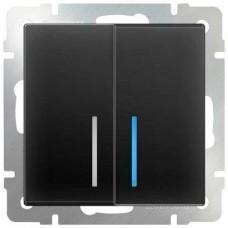 Выключатель двухклавишный проходной с подсветкой / WL07-SW-2G-2W-LED (серо-коричневый) a035911