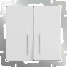 Выключатель двухклавишный проходной c  с подсветкой / WL03-SW-2G-2W-LED-ivory (слоновая кость) a051477
