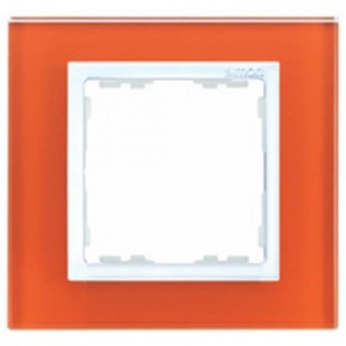 Рамка декоративная, 1 пост, S82 Nature, Стекло, оранжевый-белый 82617-65