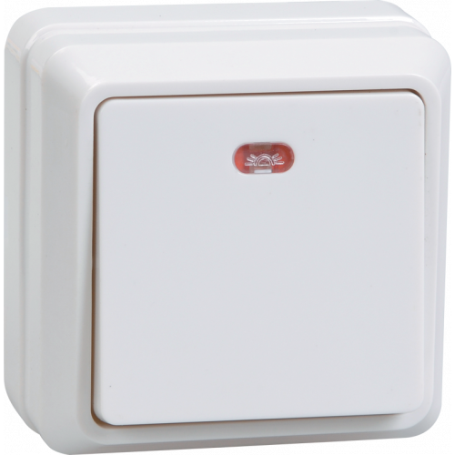 ВС20-1-1-ОБ Выключатель 1кл с инд. 10А откр.уст. ОКТАВА (белый) EVO11-K01-10-DC