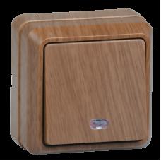 ВС20-1-1-ОД Выключатель 1кл с инд. 10А откр.уст. ОКТАВА (дуб) EVO11-K04-10-DC