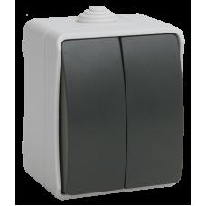 ВС20-2-0-ФСр Выключатель двухклавишный для открытой установки ФОРС IP54 IEK EVS20-K03-10-54-DC